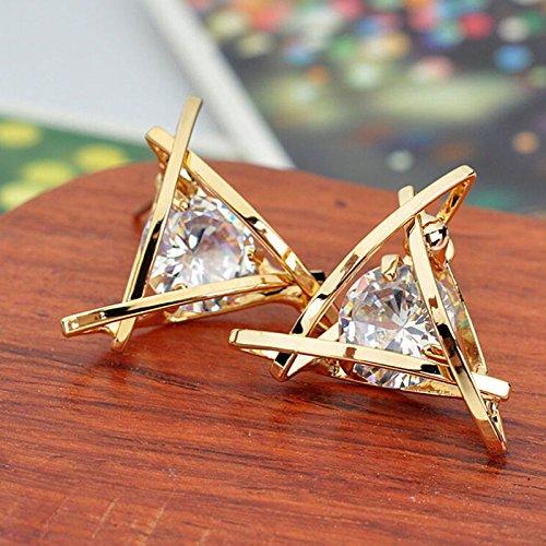 Paweenaso Ransopakul Women Lady Triangle Crystal Rhinestone Ear Stud Gold Earrings