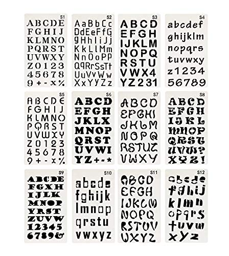 Penta Angel 12Pcs Plastic ABC Letter Stencils Alphabet Number Drawing Painting Scale Template Set for Bullet Journal Planner Notebook Diary Scrapbook Card and Craft DIY