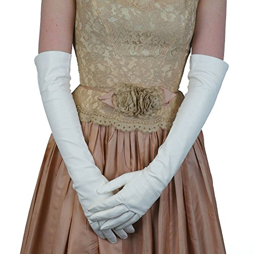 "Opera Length Italian Leather Gloves. Lined in Silk. 12"". By Solo Classe (9, White)"