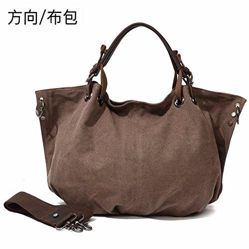 de moda 17cm 35cm bolso bolsa dirección moda KEROUSIDEN Bolso de marrón de bolsa tela Messenger de la la lona 46cm A5qwSTxp