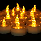 Youngerbaby 24pcs Amber Yellow Battery Operated LED Tea Lights Candles with Timer -6 Hours on and 18 Hours Off in 24 Hours Cycle for Outdoor, Indoor, Thankgiving Days, Christmas Day (24, Yellow)