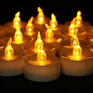 """Youngerbaby 24pcs Timing Function Amber Yellow Battery Operated Candles, Flicker Flameless Led Candles, Frosted Led Tealight, Tea Light Candles with Timer -6 Hours on and 18 Hours Off in 24 Hours Cycle for Outdoor, Indoor, Wedding, Party, Dia. 1.4""""x1.4"""" Height (24, Yellow)"""