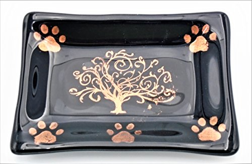 Decorative Black and Copper Mica Tree of Life and Paw Print Soap Catchall Trinket Dish Handcrafted Fused Glass (Soap Dish Decorative Copper)