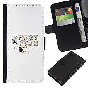 """A-type (Calvin Hobb"""") Colorida Impresión Funda Cuero Monedero Caja Bolsa Cubierta Caja Piel Card Slots Para Sony Xperia Z3 D6603"""