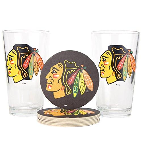NHL Pint Glass and Coaster Set (2 Pack) (Chicago Blackhawks (Team Logo Coasters))