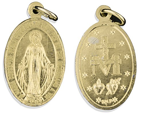 Aluminum Miraculous Medals - Pack of 10 (18mm, Gold)