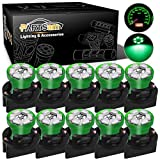 Partsam T10 194 LED Light bulb 168 LED Bulbs Bright Instrument Panel Gauge Cluster Dashboard LED Light Bulbs Set 10 T10 LED Bulbs with 10 Twist Lock Socket -Green