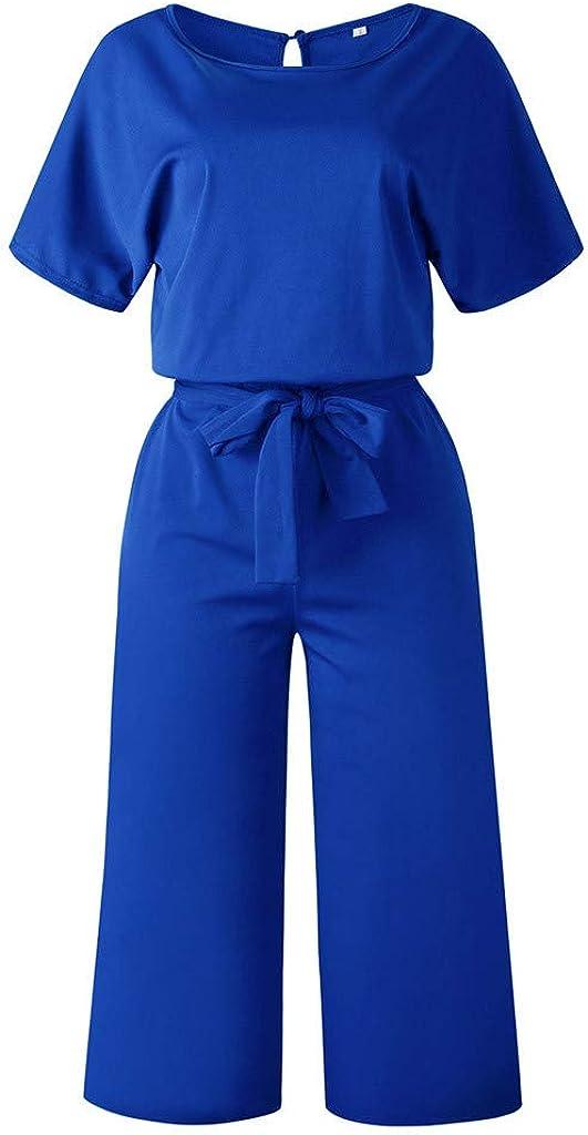 d/écontract/é EUCoo Combinaison-Pantalon d/écontract/é /à Taille Haute pour Femmes Taille Haute et Manches Courtes d/écontract/é avec Ceinture
