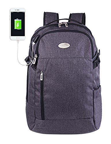 Mygreen Travel Laptop Backpack, Large Business Durable Laptops Backpack with USB Charging Port,Water Resistant College School Computer Bag for Women & Men Fits 15.6-17 Inch Laptop and Notebook (Grey)