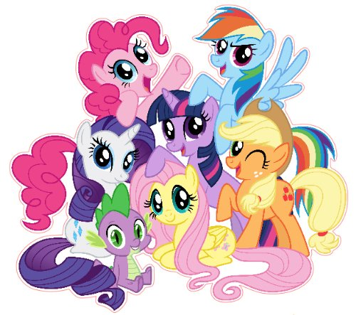 High Quality My Little Pony Friendship Is Magic Group Shot Set Removable Wall Stickers  With Free My Little Part 27