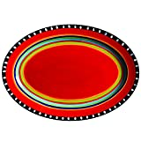 "Gibson Elite 100899.01RM Pueblo Springs 14"" Handpainted Oval Platter, Multicolor"