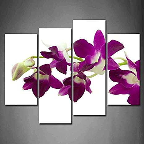 Funy Decor 4 Panel Purple Deep Pink Orchid Isolated Matthiola Incana Oil Paintings On Canvas Print Flower Pictures Modern Wall Art Set Stretched And Framed Ready To Hang Posters Prints