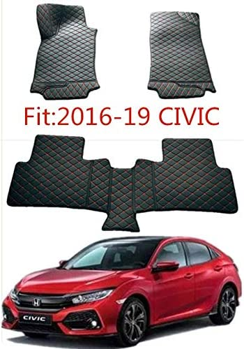 Mesport Leather All Weather Black Red Car Floor Mats Carpet Cover Waterproof Fit for 2016-2020 Honda Civic 4Door