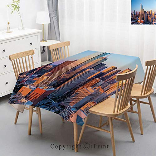 Wedding Party,Allover Print Christmas Fabric Tablecloth,Holly Berry Xmas Print Cloth Tablecloth,55x102 Inch,United States,Dallas Texas City with Blue Sky at Sunset Metropolitan Finance Urban Center,Mu ()