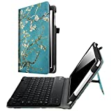 Fintie Keyboard Case for Samsung Galaxy Tab E 9.6 - Slim Fit PU Leather Stand Cover with Premium Quality [All-ABS Hard Material] Removable Wireless [Long Life Battery] Bluetooth Keyboard, Blossom