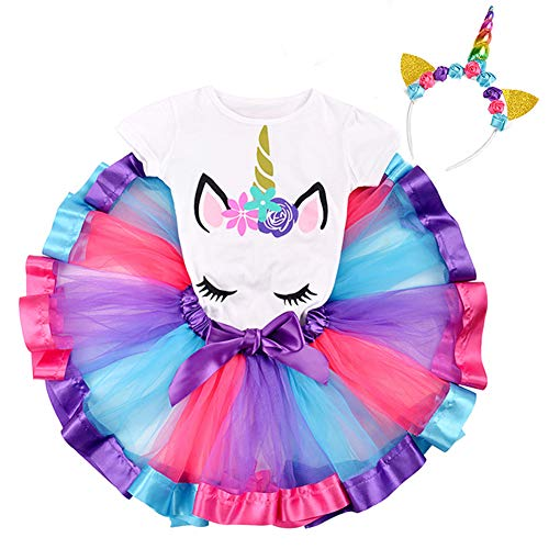 Bestry Rainbow Tutu Skirt Girls Unicorn Outfit Set Birthday Unicorn T-Shirt Unicorn Horn Headband