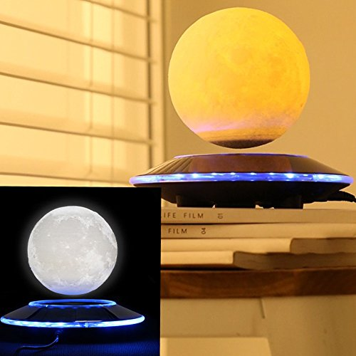 VGAzer Magnetic Levitating Moon Lamp Night Light Floating and Spinning in Air Freely with Gradually Changing LED Lights Between Yellow and White for Home、Office Decor,Unique Gifts,Night Light