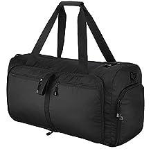 OMorc Travel Duffel Bag, 60L grandes plegables Deportes y Gym Duffle Bag, resistente al agua Travel Duffle Bag con correa de hombro extraíble para las mujeres y los hombres – Negro