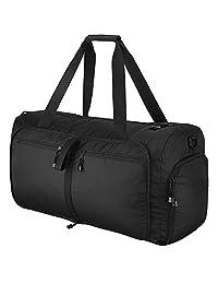 OMorc Bolsa de Viaje Travel Duffel Bag, 60L Grandes Plegables Deportes y Gym Duffle Bag, Resistente al Agua Travel Duffle Bag con Correa de Hombro Extraíble para Las Mujeres y los Hombres (Negro)