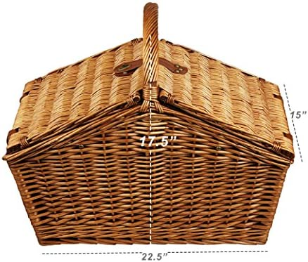 Picnic at Ascot Huntsman English-Style Willow Picnic Basket with Service for 4 and Blanket – London Plaid