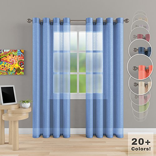"""Grommet Semi Sheer Luxury 2 Panels Total Wide 108"""" (Each Curtain 54""""Wx84""""L) Window Home Decor and Upscale Design Light Penetrating & Privacy Soft Durable Polyester Easy Upkeep (Baby (Two Grommet)"""