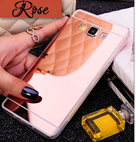 (Samsung Galaxy J7 Case,A-slim(TM)Luxury Mirror Back Shock-Absorption TPU Bumper Anti-Scratch Bright Reflection Protective Case for J7 (Rose Gold))