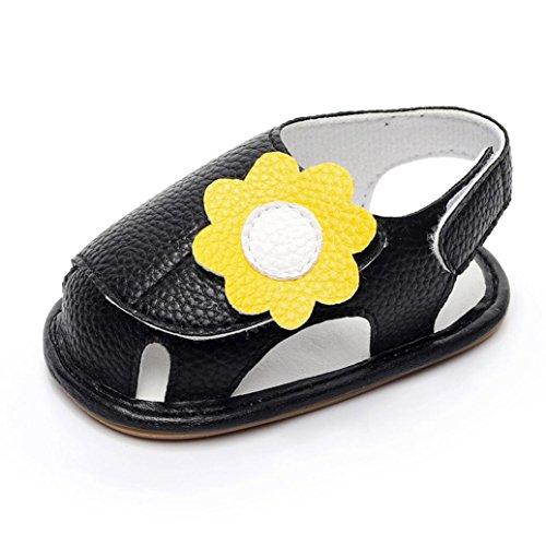 Jamicy® Neugeborenes Baby Mädchen Jungen Sommer Schuhe Weiche Sandalen Anti-Rutsch-Turnschuhe 0-24 Monate Schwarz