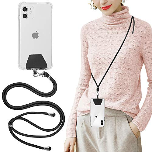 SS Phone Lanyard, Cell Phone Lanyard with Adjustable Detachable Neckstrap and Phone Tether, Phone Strap Compatible with All Smartphones-Black from SS