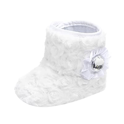 WuyiMC Baby Girls' Flower Boots,Premium Soft Sole Anti-Slip Warm Winter Prewalker Snow Boots: Clothing