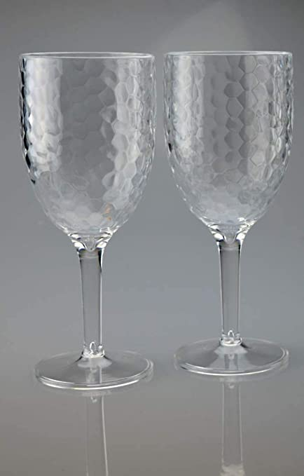 1af6eb7c8e3 Buy Bell%27O Bello Pack of 2 Plastic Wine Goblet Dimple Glasses Online at  Low Prices in India - Amazon.in