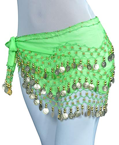 Belly Dancing Hip Scarf Gypsy Costume for Women Blue Coin Skrit (Gypsy Coins)