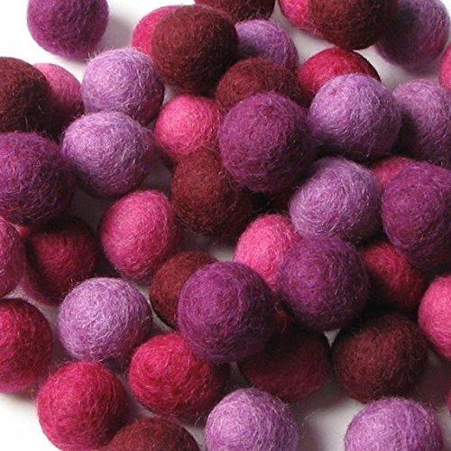 60 Hand-felted Wool Felt Balls 1.5 CM Very Berry Mix Handbehg Felts Fiber Crafts