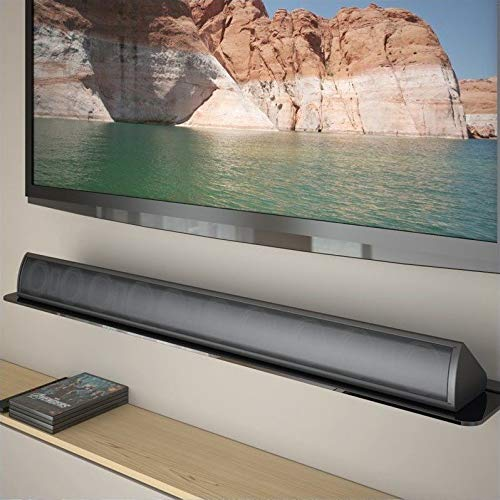 CorLiving MCS-408-S Black Tempered Glass Sound Bar Wall Shelf