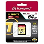 Transcend 64 GB High Speed 10 UHS-3 Flash Memory Card 95/60 MB/s (TS64GSDU3),Gold 14 Ideal for Full 1080p HDD, Ultra 2160p HD, 3D and 4K video recording.Operating Temperature -25°C(-13°F) to 85°C(185°F) Up to 95/60 MB/s ; Minimum constant 30 Mb/s write speed guaranteed for real-time video recording Supports Ultra High Speed Class 3 specification (U3)