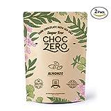 ChocZero's Keto Bark, Dark Chocolate Almonds with Sea Salt. 100% Stone-Ground, Sugar Free, Low Carb. No Sugar Alcohols, No Artificial Sweeteners, All Natural, Non-GMO (2 bags, 6 servings/each)