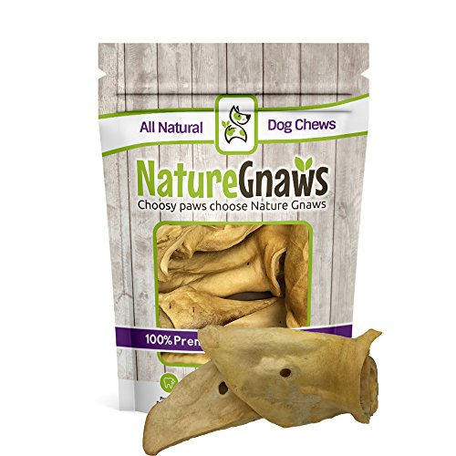 Nature Gnaws Large Whole Cow Ears (6 Count) - 100% Natural Grass Fed Beef Chews for Dogs
