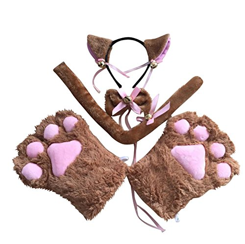 [Little Girls' Cat Cosplay Set (Paw, Headband, Bow Tie, Tail) (Brown)] (Brown Cat Ears)