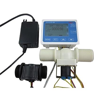 """DIGITEN G1"""" Water Flow Control LCD Display+Flow Sensor Meter+Solenoid Valve+24V power from DIGITEN"""