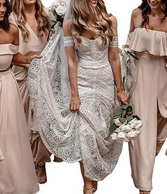 Women's Bohemian Wedding Dresses Sweetheart Mermaid Lace Bridal Gown