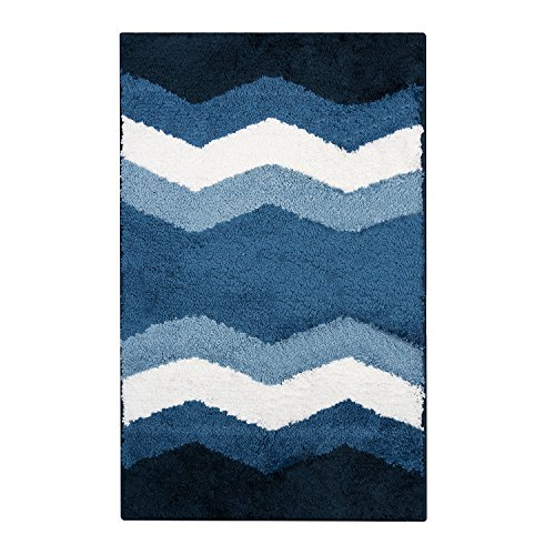 Bathroom Rug Soft Plush Microfiber Piles Ombre Shower Rug with Non-Skid TPR Backing (2032 inches, Chevron Blue)
