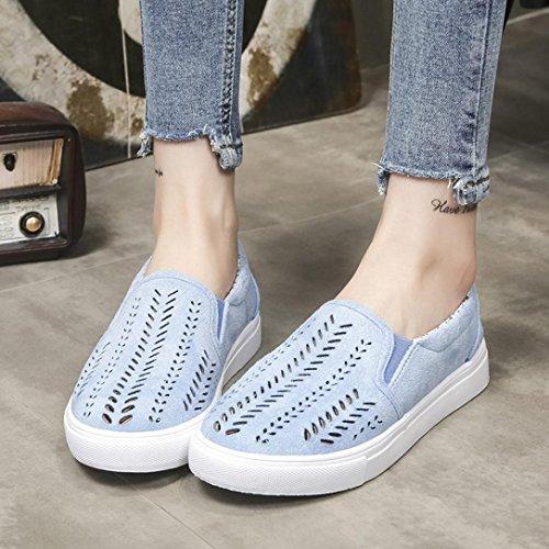 Des Évider Femmes Chaussures Chaussures Plates Bleu Rond À Familizo Bout EaqOfE