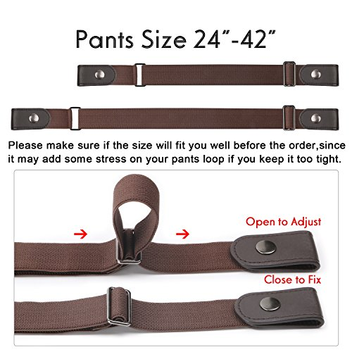 No Buckle Women/Men Stretch Belt Elastic Waist Belt Up to 48'' for Jeans Pants Dresses by WERFORU (Image #2)