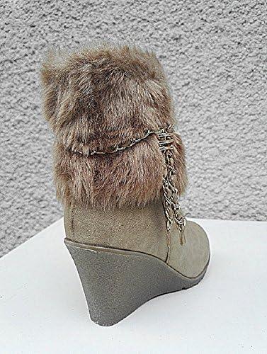 fashionfolie Femme Bottes Bottine Talon compensées Fourré