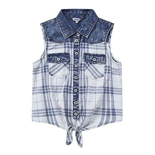 (Bienzoe Girl's Plaid Denim Sleeveless Tie Front Blouse Casual Tank Tops Blue 10)
