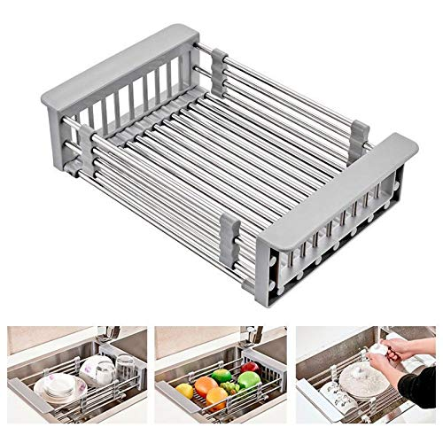 - Drain Shelf,Fheaven Stainless Steel Rack Drain Basket Telescopic Sink Dish Drainers Utility Sink For Kitchen