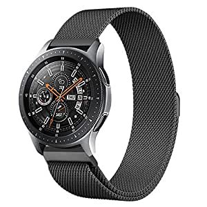 Shangpule Compatible Samsung Galaxy Watch (46mm) Bands, 22mm Milanese Loop Stainless Steel Metal Replacement Bracelet Strap Compatible Gear S3 Classic/Frontier Smartwatch (Black)
