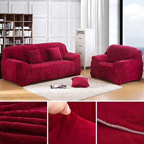 ANJUREN 1-Piece Thicker Chair Loveseat Sofa Stretch Slipcover Soft Furniture Shield Protector Anti-wrinkle Slipcovers Polyester Spandex Fabric Without Pillow (Chair, Wine red) (Chairs With Ottomans Club Oversized)