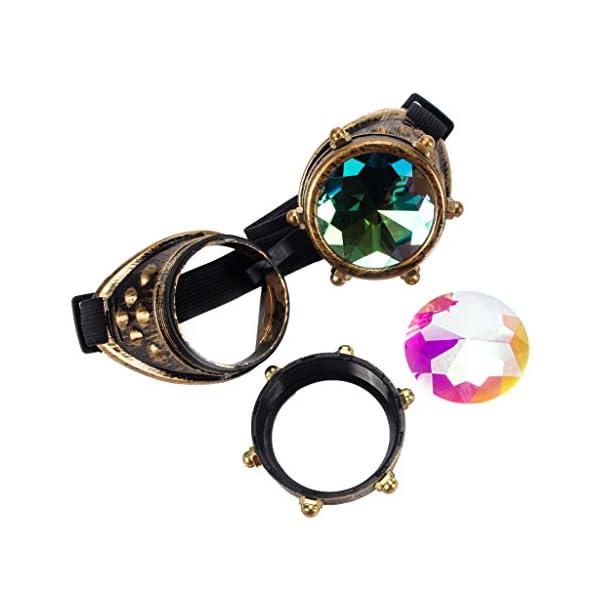 Careonline Festivals Kaleidoscope Gloth Vintage Rainbow Prism Sunglasses Steampunk Goggles Adjustable Bands 5