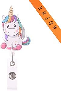 Unicorn Retractable Badge Holder Reel,Cute Name Badge Tag Clip On Card Holders with Belt Clip ,ID Badge Reels Clip Card Holder for Office Worker Doctor Nurse Medstudent and Student