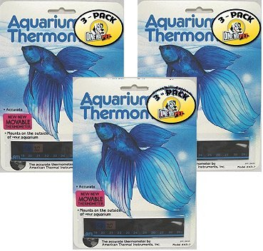 Horizontal Aquarium Thermometer (Pack of 3) by Amerian Thermal